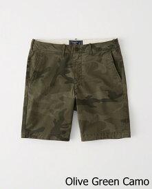 Abercrombie&Fitch (アバクロンビー&フィッチ) ストレッチ クラッシックフィット ショートパンツ (Plainfront Shorts) メンズ (Olive Green Camo) 新品