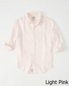 Abercrombie&Fitch (アバクロンビー&フィッチ) ボタンダウン リネンシャツ(長袖)(Linen Shirt) メンズ (Light Pink) 新品 (Signature Fit)