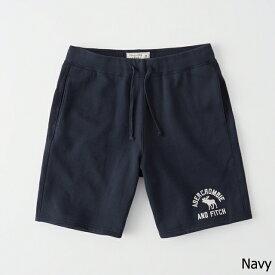 Abercrombie&Fitch (アバクロンビー&フィッチ) ロゴ 刺繍 スエット ショーツ (Logo Fleece Shorts) メンズ (Navy) 新品
