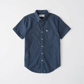 Abercrombie&Fitch (アバクロンビー&フィッチ) 日本未発売 オックスフォード ボタンダウン 半袖シャツ (Short-Sleeve Icon Oxford Shirt) メンズ (Navy Blue) 新品