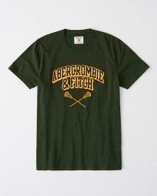 Abercrombie&Fitch 正規品 (アバクロンビー&フィッチ) ロゴ アップリケ グラフィック Tシャツ (Applique Logo Tee) メンズ (Green) 新品