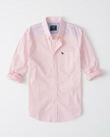Abercrombie&Fitch (アバクロンビー&フィッチ) ドット柄 ムース刺繍 ストレッチ ボタンダウン チェックシャツ(長袖)(Print Poplin Shirt) メンズ (Pink) 新品