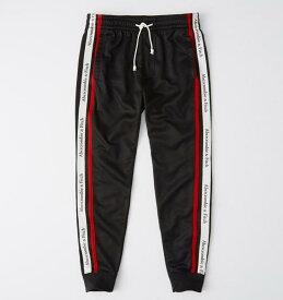 Abercrombie&Fitch (アバクロンビー&フィッチ) サイドストライプジョガーパンツ (スエットパンツ) (Logo Tape Tricot Joggers) メンズ (Black) 新品