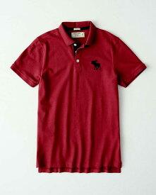 Abercrombie&Fitch (アバクロンビー&フィッチ) 正規品 鹿の子半袖ポロシャツ (Icon Polo) メンズ (Dark Pink) 新品 日本未発売