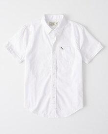 Abercrombie&Fitch (アバクロンビー&フィッチ) Moose刺繍 ボタンダウン 半袖シャツ (Short Sleeve Icon Shirt) メンズ (White) 新品