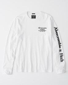 Abercrombie&Fitch (アバクロンビー&フィッチ) ロゴ アップリケ 長袖Tシャツ (ロンT) (Long-Sleeve Applique Logo Tee) メンズ (White) 新品