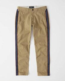 Abercrombie&Fitch (アバクロンビー&フィッチ) サイドライン スリムストレッチ チノパンツ (Skinny Side Stripe Chino Pants) メンズ (Dark Khaki) 新品