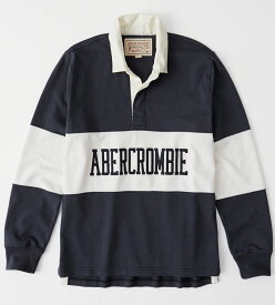 Abercrombie&Fitch 正規品 (アバクロンビー&フィッチ) ロゴアップリケ ラグビーポロシャツ(長袖) (Graphic Logo Rugby Polo) メンズ (Navy Stripe) 新品