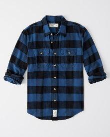 Abercrombie&Fitch (アバクロンビー&フィッチ) フラップ付き ポケット フランネルチェックシャツ (ネルシャツ)(Flannel Shirt) メンズ (Blue And Black) 新品