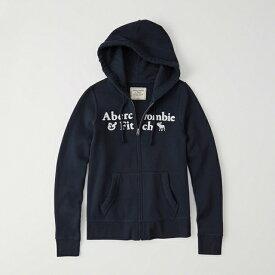 【新品】アバクロ【Womens】アップリケフルジップパーカー(フーディー)/Navy【Logo Full-Zip Hoodie】【Abercrombie&Fitch】【本物保証】【レディース】