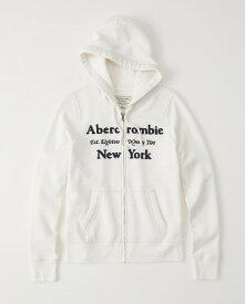 【新品】アバクロ【Womens】アップリケフルジップパーカー(フーディー)/White【Logo Full-Zip Hoodie】【Abercrombie&Fitch】【本物保証】【レディース】