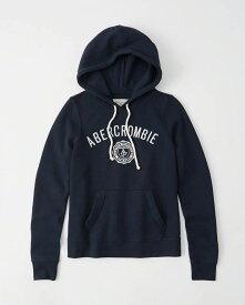 【新品】アバクロ【Womens】アップリケ プルオーバーパーカー(フーディー)/Navy【Logo Hoodie】【Abercrombie&Fitch】【本物保証】【レディース】