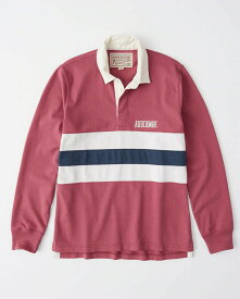 Abercrombie&Fitch 正規品 (アバクロンビー&フィッチ) ロゴ刺繍 ラグビーポロシャツ(長袖) (Graphic Logo Rugby Polo) メンズ (Pink) 新品