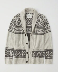 Abercrombie&Fitch (アバクロンビー&フィッチ) ショールカラー カーディガン (Shawl Cardigan) メンズ (Oatmeal Pattern) 新品