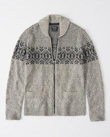 Abercrombie&Fitch (アバクロンビー&フィッチ) ショールカラー フルジップ セーター ジャケット (Full-Zip Sweater Jacket) メンズ (Light Grey Pattern) 新品