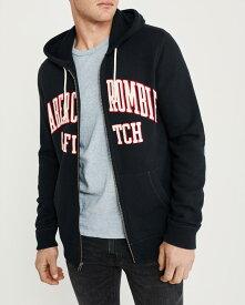 Abercrombie&Fitch (アバクロンビー&フィッチ) アップリケ フルジップ パーカー(フーディー) (Full-Zip Logo Hoodie) メンズ (Navy) 新品