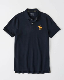 Abercrombie&Fitch (アバクロンビー&フィッチ) 正規品 鹿の子半袖ポロシャツ (Icon Polo) メンズ (Navy Blue) 新品 日本未発売