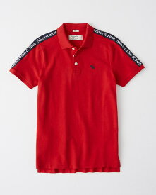 Abercrombie&Fitch (アバクロンビー&フィッチ) 正規品 テープロゴ ストレッチ鹿の子半袖ポロシャツ (Logo Tape Stretch Polo) メンズ (Red) 新品 日本未発売