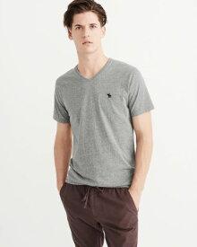 Abercrombie&Fitch 正規品 (アバクロンビー&フィッチ) Vネック アイコンTシャツ (Icon V-Neck Tee) メンズ (Grey&NAvy) 新品