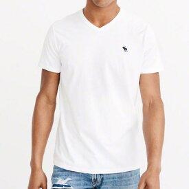 Abercrombie&Fitch 正規品 (アバクロンビー&フィッチ) Vネック アイコンTシャツ (Icon V-Neck Tee) メンズ (White&NAvy) 新品
