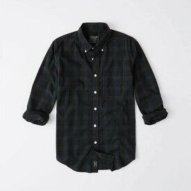 Abercrombie&Fitch (アバクロンビー&フィッチ) ボタンダウン チェックシャツ(長袖)(Poplin Shirt) メンズ (Green And Navy Check) 新品