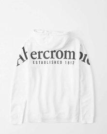 Abercrombie&Fitch (アバクロンビー&フィッチ) バックロゴ グラフィック プルオーバー パーカー (Exploded Logo Hoodie) メンズ (White) 新品