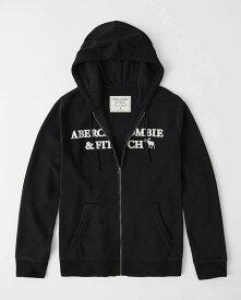 Abercrombie&Fitch (アバクロンビー&フィッチ)ロゴアップリケ フルジップ パーカー(フーディー) (Embroidered Logo Full-Zip Hoodie) メンズ (Black) 新品