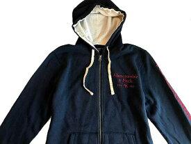 Abercrombie&Fitch (アバクロンビー&フィッチ)袖アップリケ ロゴ刺繍 フルジップパーカー(フーディー)(Full-Zip Hoodie) メンズ (Navy) 新品 日本未発売