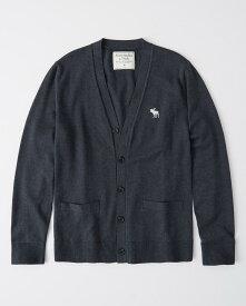 Abercrombie&Fitch (アバクロンビー&フィッチ) 大きめムース刺繍 カーディガン (Lightweight Sweater Cardigan) メンズ (Navy) 新品