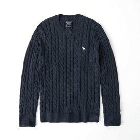 Abercrombie&Fitch (アバクロンビー&フィッチ) ムース刺繍 コットンケーブルニット (Icon Cable Knit Sweater) メンズ (Heather Grey) 新品