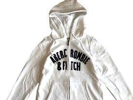 Abercrombie&Fitch (アバクロンビー&フィッチ) 正規品 アップリケフルジップパーカー (フーディー) (Full-Zip Logo Hoodie) レディース (White) 新品