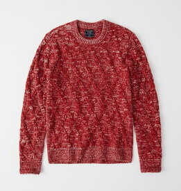 Abercrombie&Fitch (アバクロンビー&フィッチ) ケーブルニット (Cozy Cable Knit Sweater) メンズ (Red) 新品
