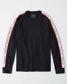 Abercrombie&Fitch 正規品 (アバクロンビー&フィッチ) ロゴテープ 長袖Tシャツ (ロンT) (Long-Sleeve Logo Tape Tee) メンズ (Navy) 新品