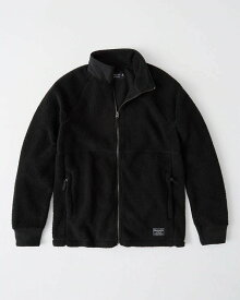 Abercrombie&Fitch (アバクロンビー&フィッチ) ラグランフルジップ フリースジャケット (Fleece Jacket) メンズ (Black) 新品