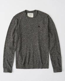 Abercrombie&Fitch (アバクロンビー&フィッチ) ロールネックムース刺繍 ニット(セーター) (Roll-Neck Crew Sweater) メンズ (Dark Heather Grey) 新品
