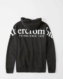 Abercrombie&Fitch (アバクロンビー&フィッチ) バックロゴ グラフィック プルオーバー パーカー (Exploded Logo Hoodie) メンズ (Black) 新品