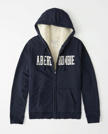 Abercrombie&Fitch (アバクロンビー&フィッチ) 裏ボア ロゴ フルジップパーカー(フーディー)(Sherpa-Lined Full-Zip Hoodie) メンズ (Navy Blue) 新品