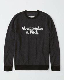 Abercrombie&Fitch 正規品 (アバクロンビー&フィッチ) ロゴアップリケスエット (Embroidered Logo Crewneck Sweatshirt) メンズ (Black) 新品