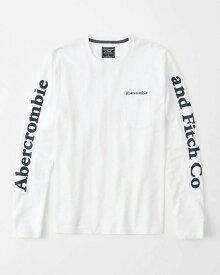 Abercrombie&Fitch (アバクロンビー&フィッチ) ポケット付ロゴグラフィック長袖Tシャツ (ロンT) (Long-Sleeve Logo Tee) メンズ (White)