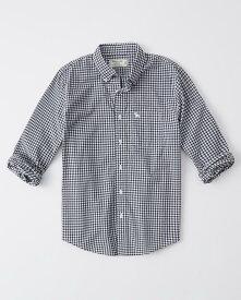 Abercrombie&Fitch (アバクロンビー&フィッチ) ボタンダウン チェックシャツ(長袖)(Icon Poplin Shirt) メンズ (Navy Blue Check) 新品