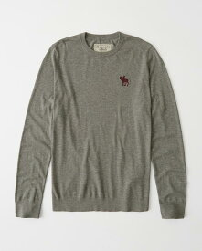 Abercrombie&Fitch (アバクロンビー&フィッチ) ビックムース刺繍 クルーネックセーター (Icon Crew Sweater) メンズ (Grey) 新品