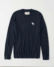 Abercrombie&Fitch (アバクロンビー&フィッチ) ビックムース刺繍 クルーネックセーター (Icon Crew Sweater) メンズ (Navy Blue) 新品