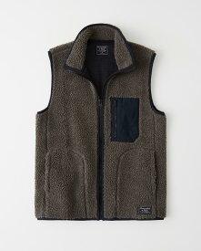 Abercrombie&Fitch (アバクロンビー&フィッチ) ボアベスト (Sherpa Fleece Vest) メンズ (Grey) 新品