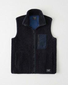 Abercrombie&Fitch (アバクロンビー&フィッチ)ボアベスト (Sherpa Fleece Vest) メンズ (Navy Blue) 新品