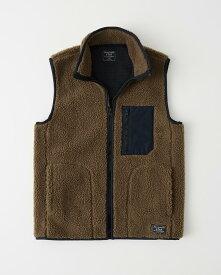 Abercrombie&Fitch (アバクロンビー&フィッチ) ボアベスト (Sherpa Fleece Vest) メンズ (Brown) 新品
