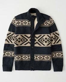 Abercrombie&Fitch (アバクロンビー&フィッチ) シェルパライニング ジャガードニットジャケット(Sherpa Mock Neck Sweater) メンズ (Navy) 新品