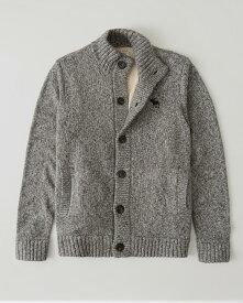 Abercrombie&Fitch (アバクロンビー&フィッチ) シェルパライニング ニットジャケット(Sherpa Mock Neck Sweater) メンズ (Heather Grey) 新品