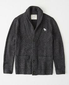 Abercrombie&Fitch (アバクロンビー&フィッチ) ビックムース刺繍 ショールカラー カーディガン (Shawl Cardigan) メンズ (Marl Grey) 新品