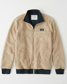 Abercrombie&Fitch (アバクロンビー&フィッチ) フルジップ レトロフリースジャケット (Sherpa Full-Zip Jacket) メンズ (Cream) 新品