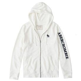 Abercrombie&Fitch (アバクロンビー&フィッチ) ムース刺繍 フルジップ パーカー(フーディー) (Embroidered Logo Full-Zip Hoodie) メンズ (White) 新品